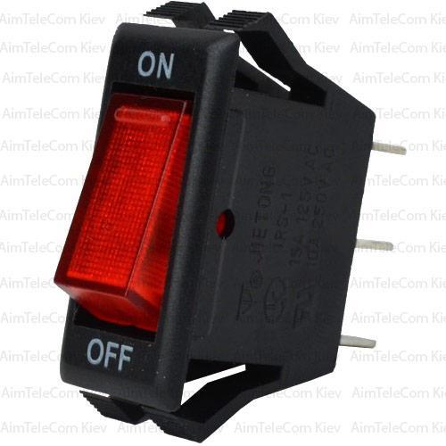 Купить Переключатель узкий с подсветкой IRS-1-7A ON-OFF, 3pin, 10A, 220V, красный