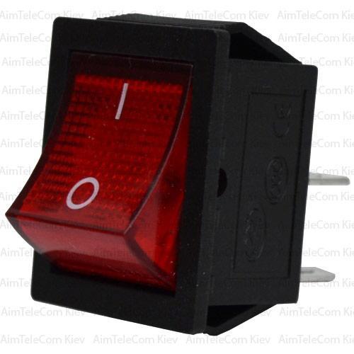 Купить Переключатель широкий с подсветкой KCD-4, ON-OFF, 4pin, 15A, 220V, красный