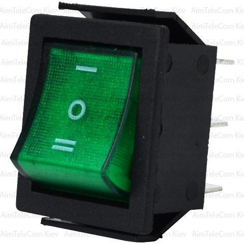Купить Переключатель широкий с подсветкой IRS-203-1C ON-OFF-ON, 6pin, 15A, 220V, зелёный