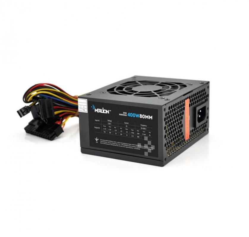 Купить Блок живлення Merlion 400W 8cm Black + кабель живлення, 10шт в коробці, ОЕМ
