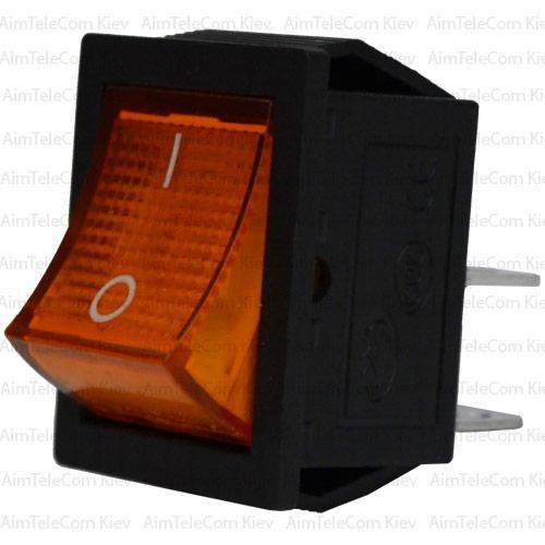 Купить Переключатель широкий с подсветкой KCD-4, ON-OFF, 4pin, 15A, 220V, жёлтый