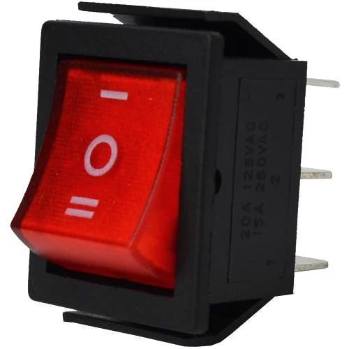 Купить Переключатель широкий с подсветкой IRS-203-1C ON-OFF-ON, 6pin, 15A, 220V, красный