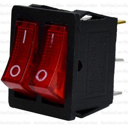 Купить Переключатель двойной с подсветкой KCD4-011, ON-OFF, 6pin, 15A, 220V, красный