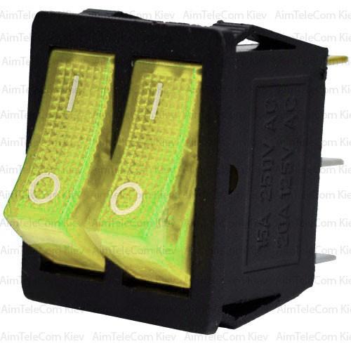 Купить Переключатель двойной с подсветкой KCD4-011, ON-OFF, 6pin, 15A, 220V, жёлтый