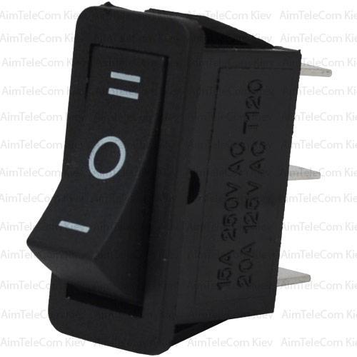 Купить Переключатель узкий RS-103-16C ON-OFF-ON, 3pin, 15A, 220V, чёрный