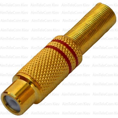 Купить Гнездо RCA, gold, под шнур, Ø6.5мм, металлическое, красное и черное, пара