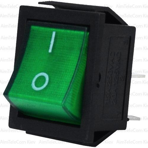 Купить Переключатель широкий с подсветкой IRS-201-1С (ON-OFF), 4pin, 15A, 220V, зелёный