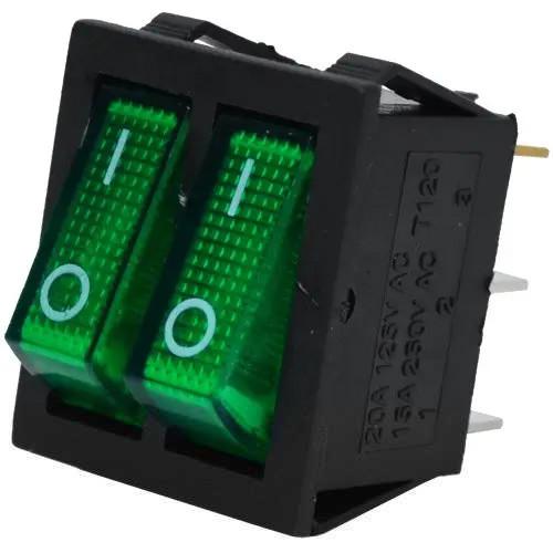 Купить Переключатель двойной с подсветкой IRS-2101-1А ON-OFF, 6pin, 15A, 220V, зелёный