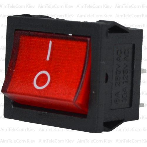 Купить Переключатель широкий с подсветкой MIRS-201-4 ON-OFF, 4pin, 6A, 220V, красный