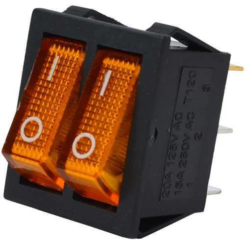 Купить Переключатель двойной с подсветкой IRS-2101-1А ON-OFF, 6pin, 15A, 220V, жёлтый