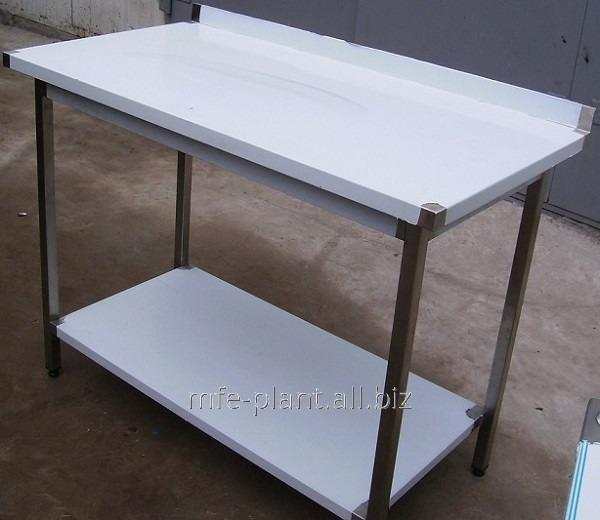 Стол производственный с бортом и 2мя полками 500х600х850, из нержавеющей стали
