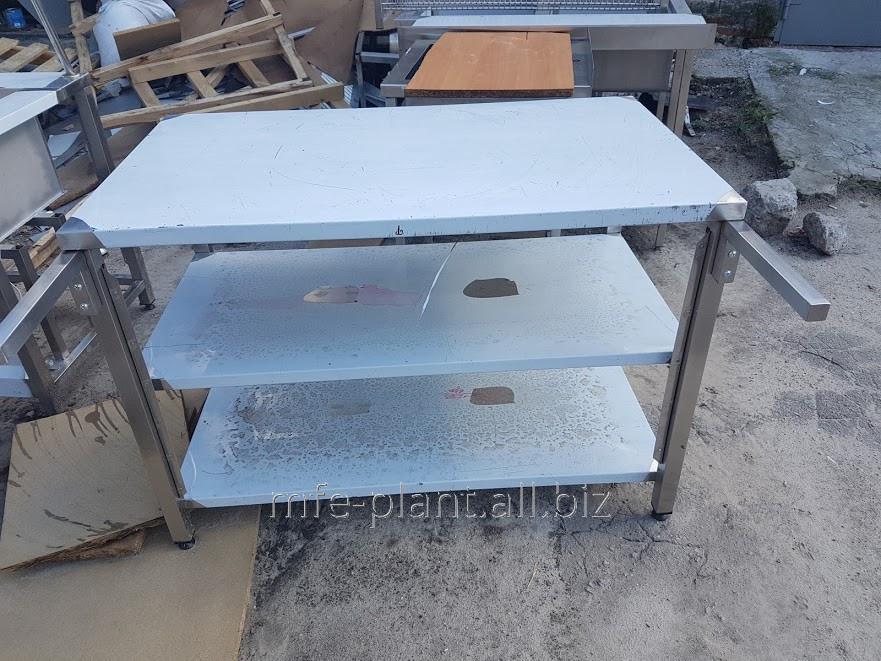 Стол производственный с бортом и 2мя полками 800х600х850, из нержавеющей стали