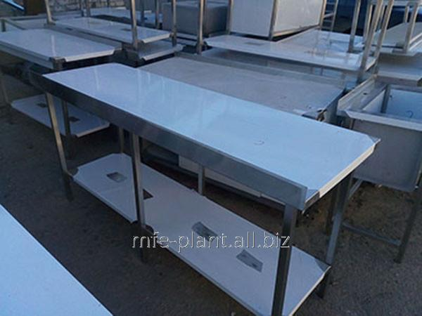Стол производственный с бортом и полкой 2400х600х850