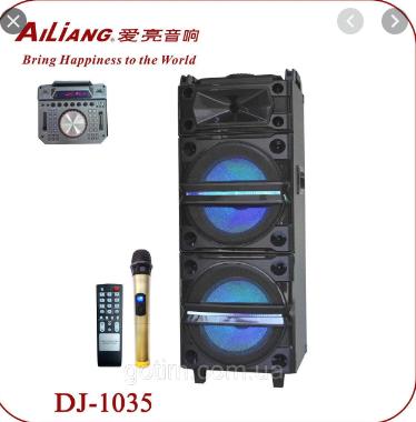 Купить Колонка аккумуляторная с Диджей Микшером Ailiang DJ-1035 + 2 радиомикрофона (400W/USB/BT/FM)