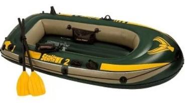 Купить Надувная лодка Seahawk 2 Set (до 200 кг) 236х114х41 см + весла/насос | Двухместная надувная лодка Intex