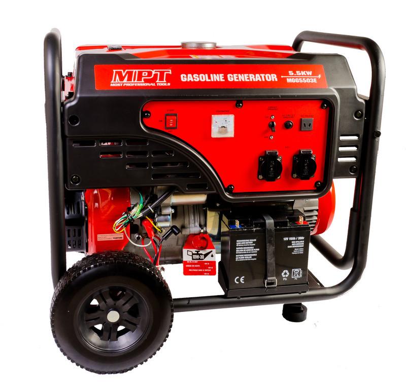 Купить Генератор бензиновый PROFI 5,5 кВт, 389 см3, возд.охл., эл.+ручной стартер, бак 25 л., MPT MGG5503E