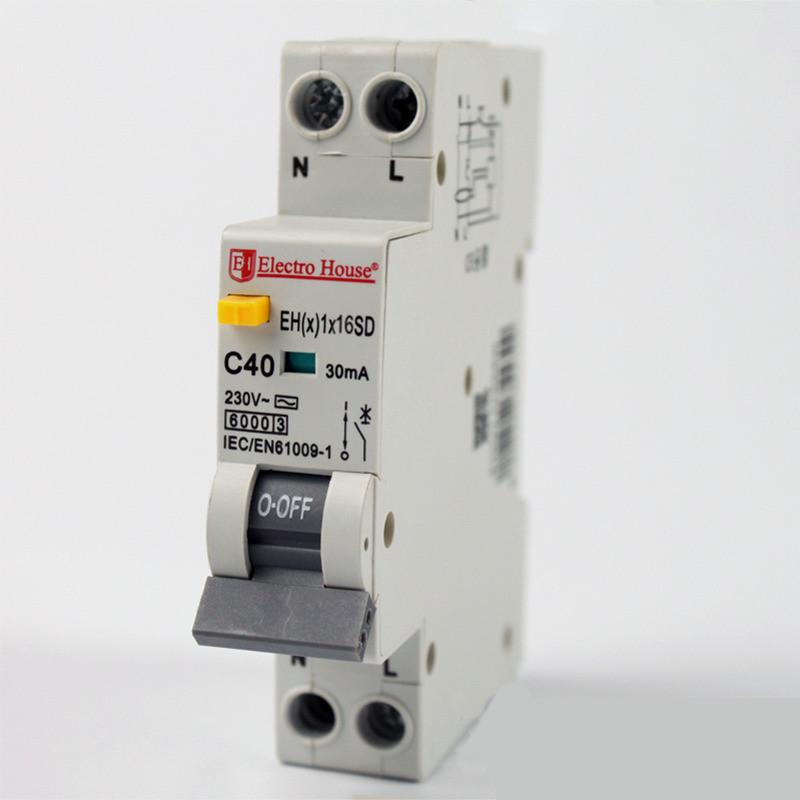 Купить ElectroHouse ДИФ Автомат 16А 1P+N(1 модуль) 30mA 6kA 230-240V IP20