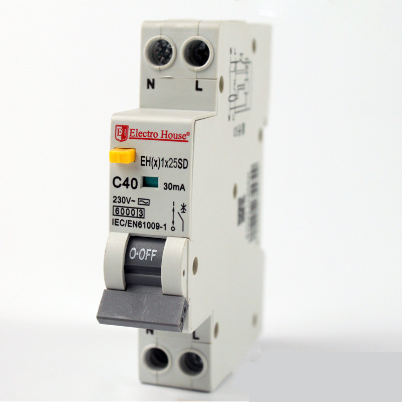 Купить ElectroHouse ДИФ Автомат 25А 1P+N(1 модуль) 30mA 6kA 230-240V IP20