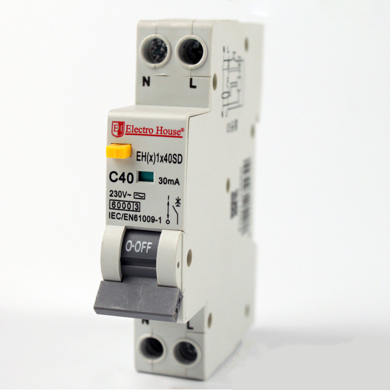 Купить ElectroHouse ДИФ Автомат 40А 1P+N(1 модуль) 30mA 6kA 230-240V IP20