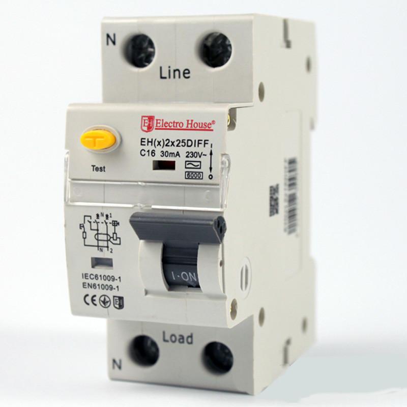 Купить ElectroHouse ДИФ Автомат 25А 1P+N 30mA 4,5kA 230-240V IP20