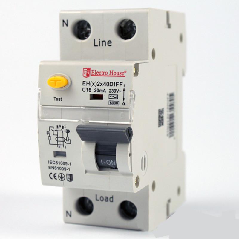 Купить ElectroHouse ДИФ Автомат 40А 1P+N 30mA 4,5kA 230-240V IP20