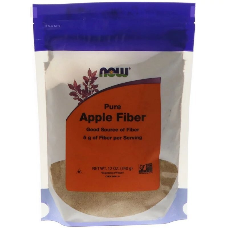 Купить Чистая яблочная клетчатка, Pure Apple Fiber, Now Foods, Порошок, 340 гр