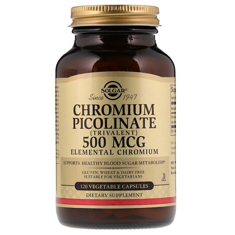 Купить Хром Пиколинат, Chromium Picolinate, Solgar, 500 мкг, 120 капсул