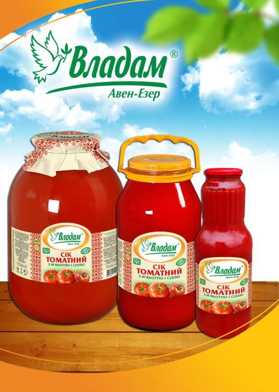 Сок томатный натуральный ТМ Владам