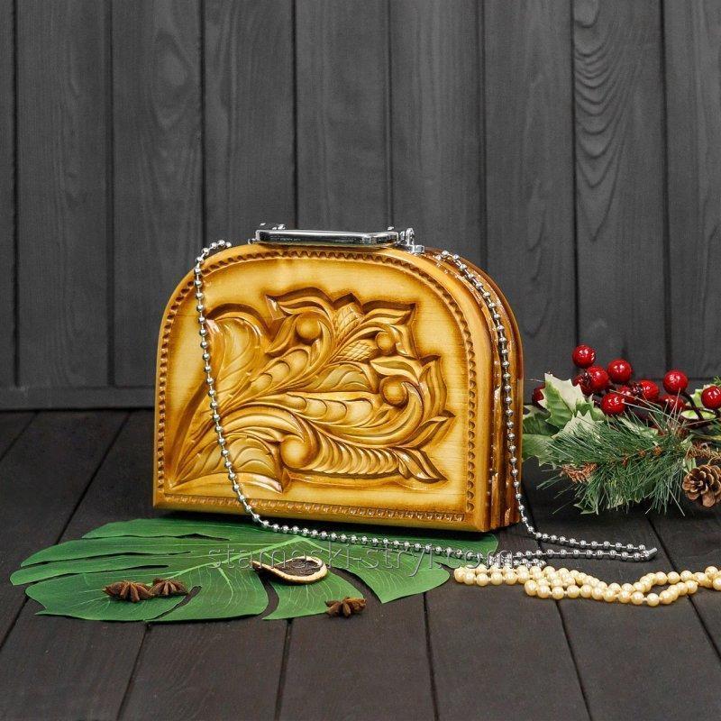 Женская сумочка ручной работы из дерева, эксклюзивная резьба, STRYI, 25*19*8 см, арт. S01-03.