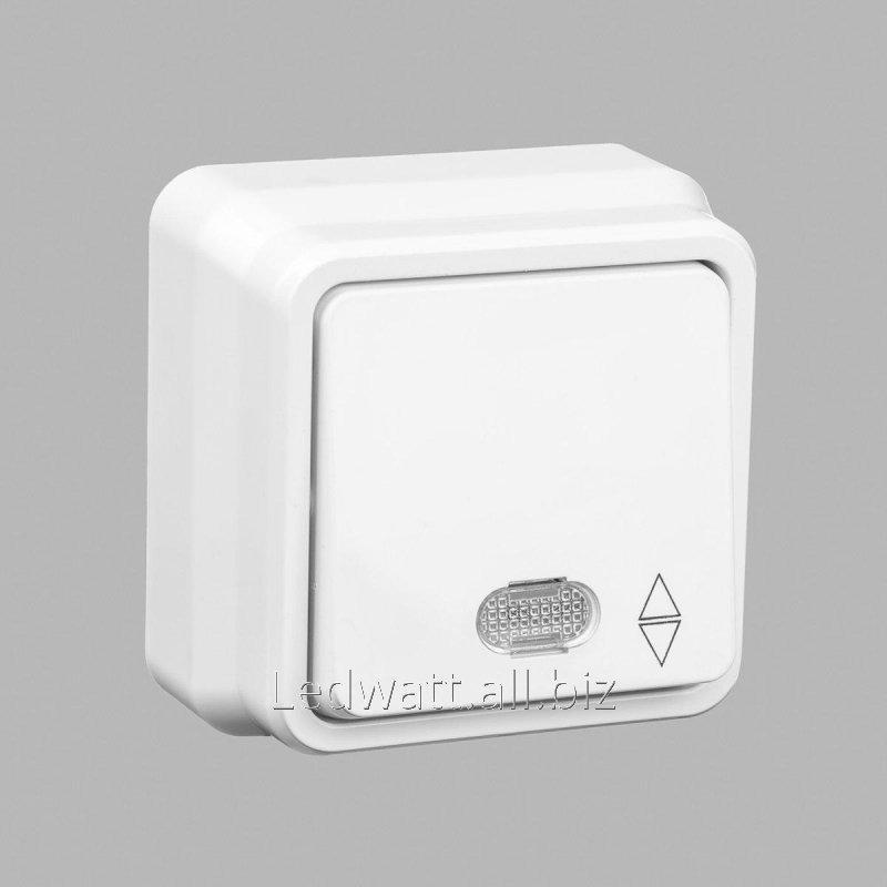 Купить Misya выключатель проходной 1-ый с подсветкой наружный белый