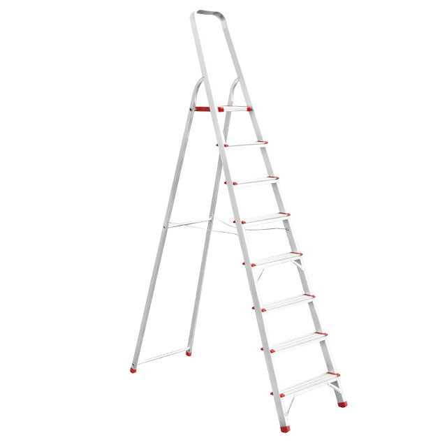 Купить Стремянка алюминиевая 8 ступеней, высота до платформы 1720 мм INTERTOOL LT-1008