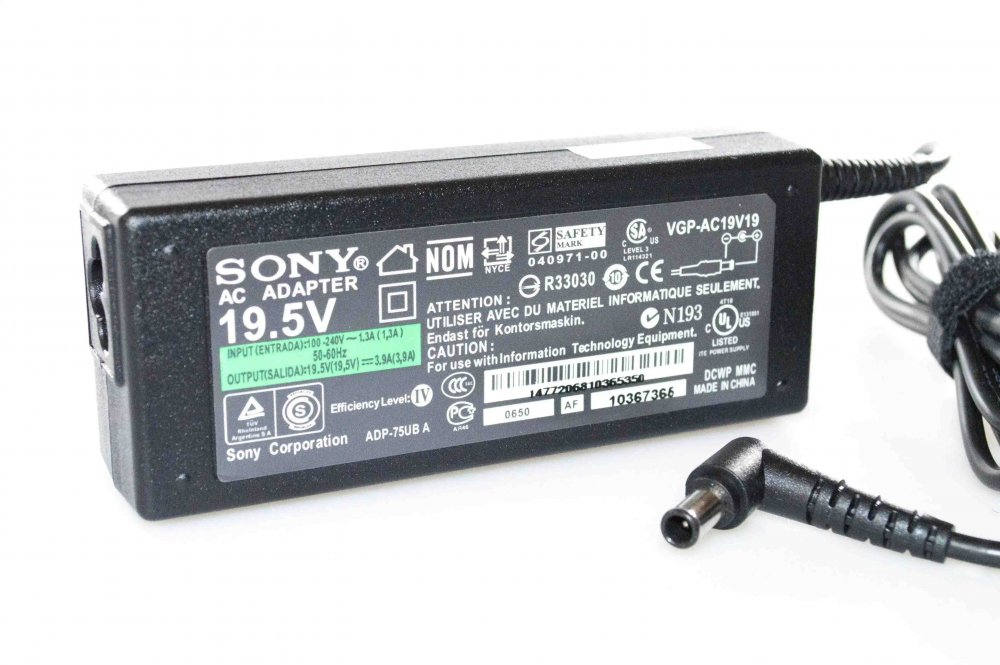 Блок питания Sony VGP-AC19V39 19.5V 3.9A 76W 6.0/4.4 с иглой Копия