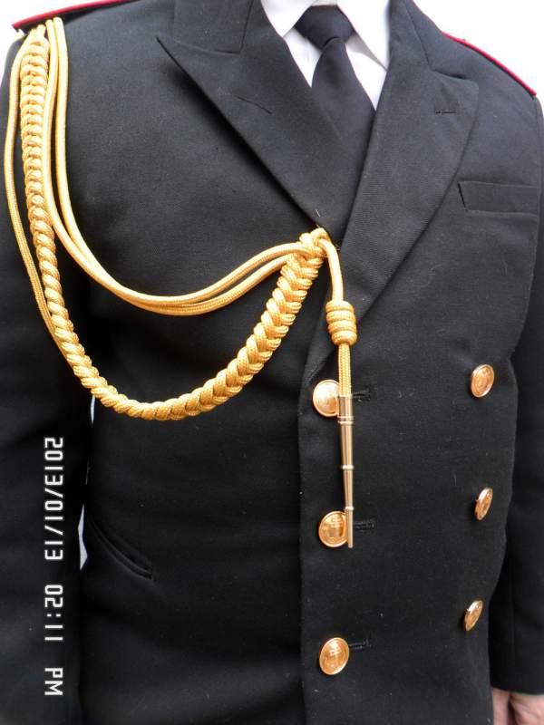 Купить Аксельбант уставной офицерский (младший офицерский состав, 1 коса, 1 наконечник) метанить золото