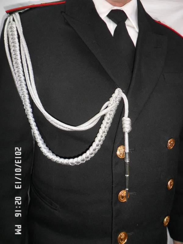 Купить Аксельбант уставной офицерский (младший офицерский состав, 1 коса, 1 наконечник) метанить серебро