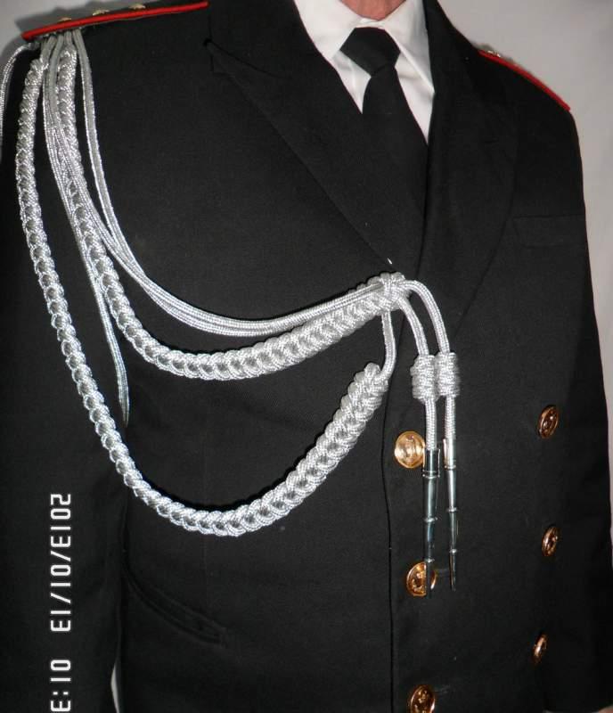 Купить Аксельбант уставной офицерский (старший офицерский состав, 2 косы, наконечника), метанить серебро