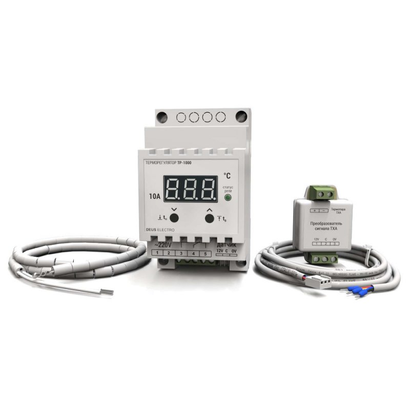 Купить Терморегулятор для высоких температур цифровой на DIN-рейку DEUS Electro ТР-1000 (10А, 220В, 999°C)