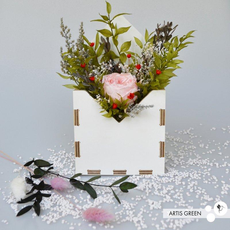 """Купить Фито-конвертик ручной работы """"Pink Rose"""" из стабилизированных растений """"Artis Green"""""""