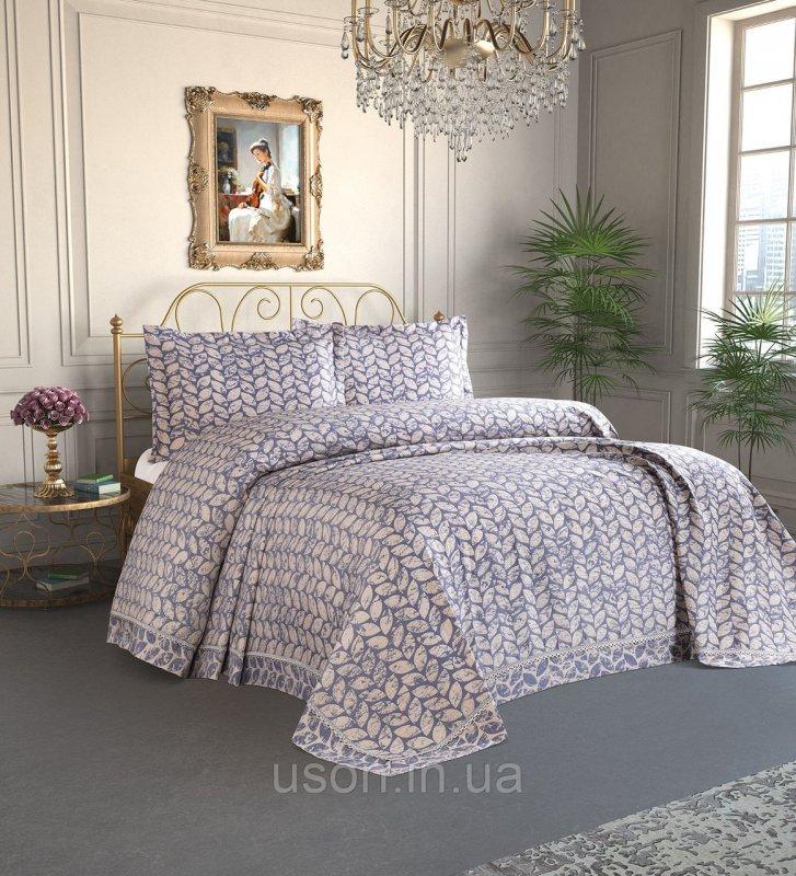 Купить Покрывало с наволочками Тм Tropik Home 240х260 Pandora Leaves Navy Blue 1229-9
