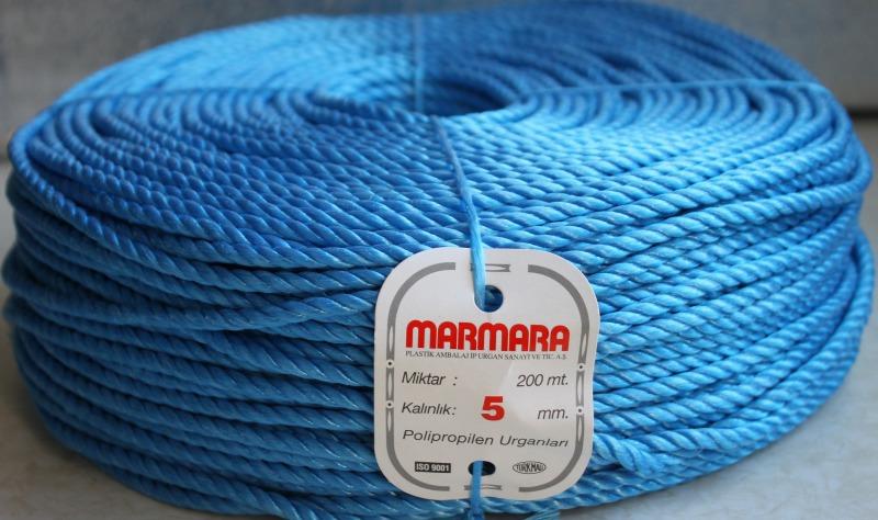 Полипропиленовая веревка крученая MARMARA д.5 мм, длина 200 метров