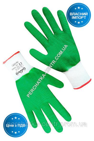 Купить Перчатки синтетические белые с зеленым вспененным полным латексным покрытием
