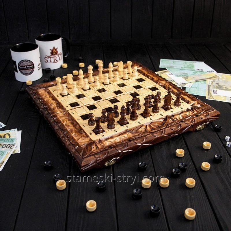 Шахматы и нарды ручной работы, эксклюзивная резьба по дереву, арт. НШ-006