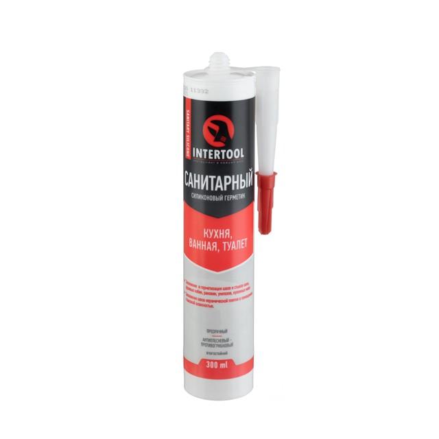 Купить Герметик силиконовый санитарный, прозрачный, 300мл/320г INTERTOOL FS-3030