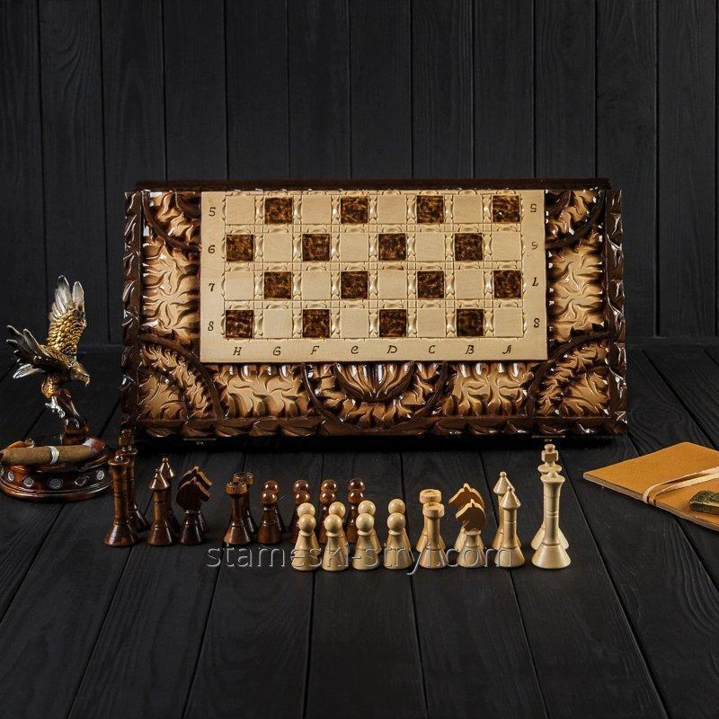 Деревянные шахматы-нарды ручной работы, эксклюзивная резьба по дереву, арт. НШ-008