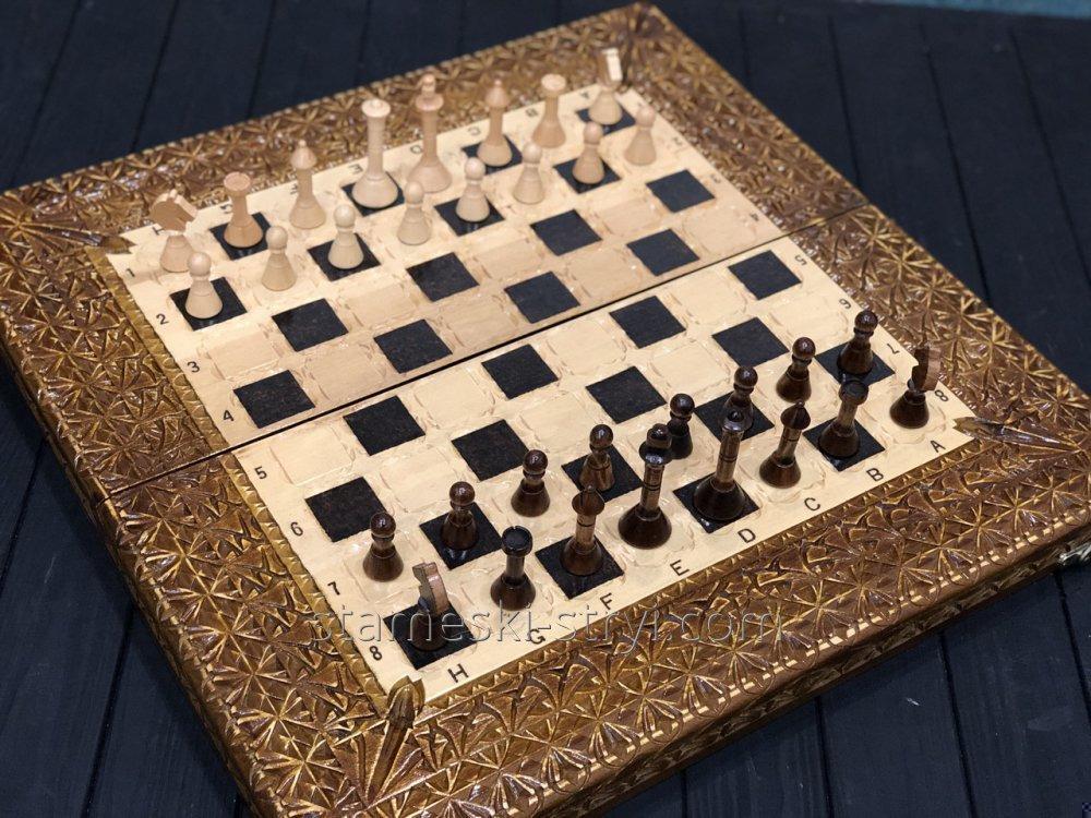 Резные нарды-шахматы ручной работы, арт. НШ-009