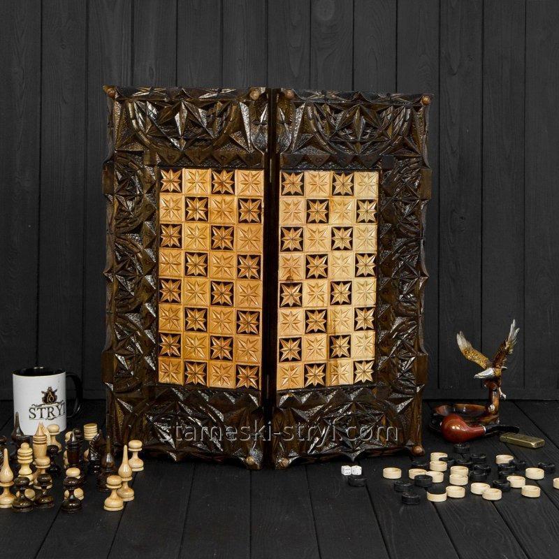 Шахматы, шашки и нарды 3в1 ручной работы, арт. НШ-010