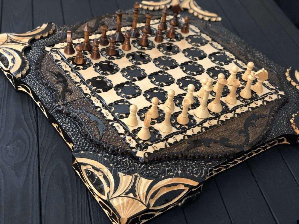 Деревянные шахматы, шашки и нарды 3в1 ручной работы, арт. НШ-011