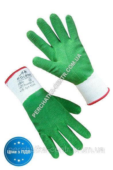 Купить Перчатки синтетические белые с зеленым вспененным полным латексным ребристым покрытием 4526, 10р.