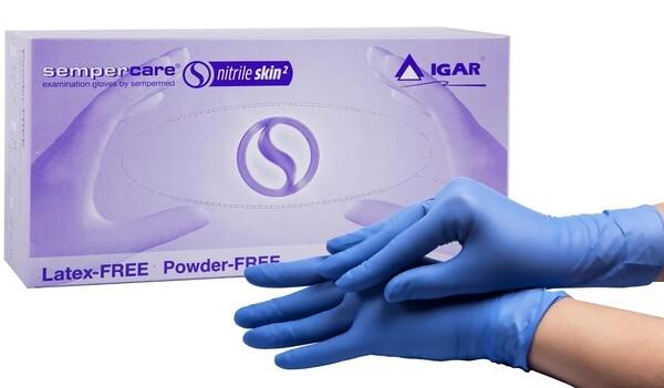 Купить Перчатки нитрил голубые размер M не припудренные 200 шт/упаковка, Игар