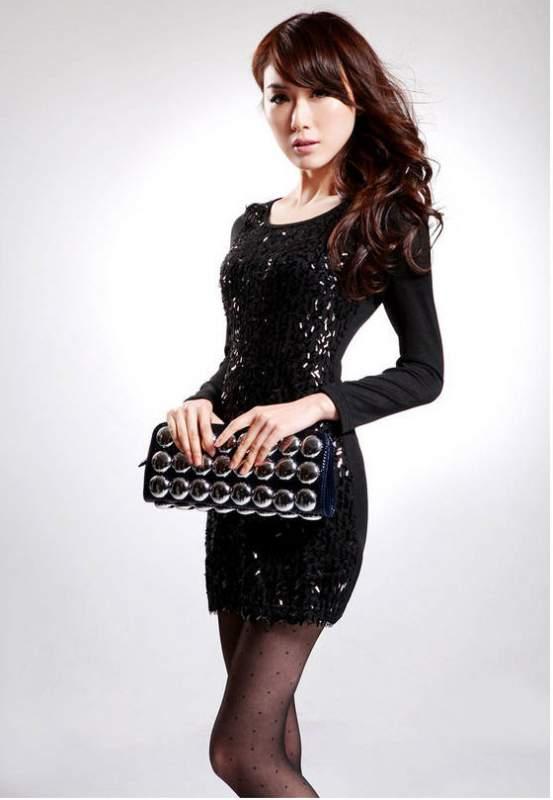 Чёрное платье с пайетками купить