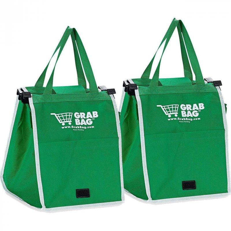Купить Складная хозяйственная сумка для покупок Grab Bag (2 шт.) Snap-on-Cart Shopping Bag